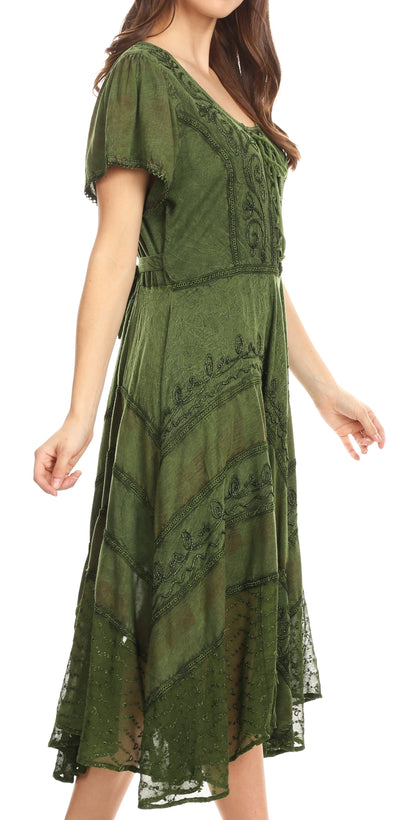 Sakkas Mila Long Corset Embroidered Cap Sleeve Dress With Adjustable Waist