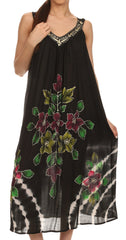 Sakkas Kira Embroidered Relaxed Fit with Pockets Tank Dress / Cover Up