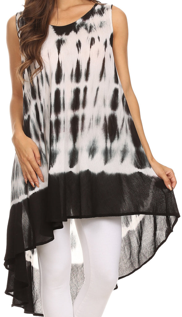 Sakkas Rae Mid Length Tie Dye Hi Low Dress / Cover Up