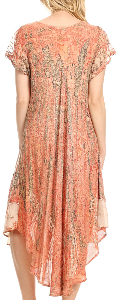 group-Burnt Sienna (Sakkas  Bree Long Embroidered Cap Sleeve Marbled Dress)