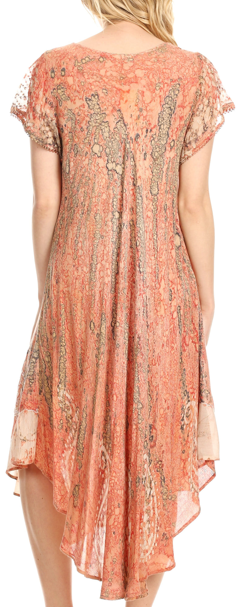 Sakkas  Bree Long Embroidered Cap Sleeve Marbled Dress