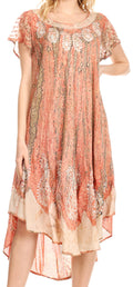 Sakkas  Bree Long Embroidered Cap Sleeve Marbled Dress#color_Burnt Sienna