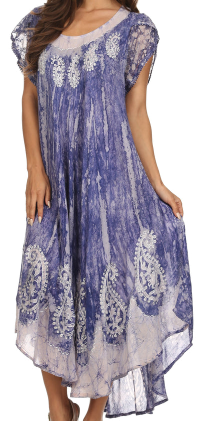 group-Indigo (Sakkas  Bree Long Embroidered Cap Sleeve Marbled Dress)