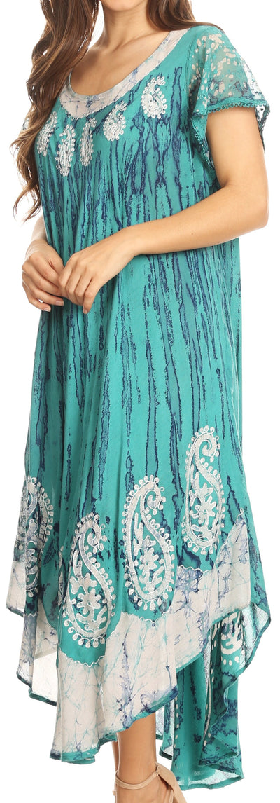 group-Sea Green (Sakkas  Bree Long Embroidered Cap Sleeve Marbled Dress)