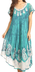 Sakkas  Bree Long Embroidered Cap Sleeve Marbled Dress#color_Sea Green