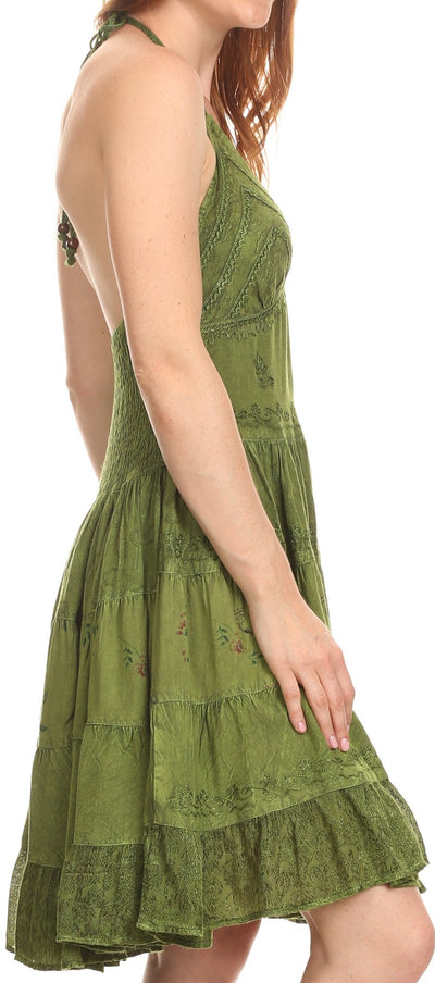 Sakkas Laye Short Adjustable Halter Top Embroidered Floral Batik Circle Dress