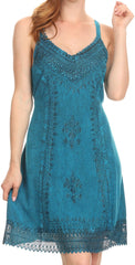 Sakkas Aliney Short Adjustable Spaghetti Strap Sleeveless Embroidered Day Dress