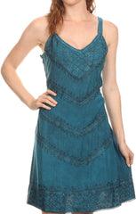 Sakkas Rhyder Mid Strapless Spaghetti Strap Adjustable Embroidered Batik Dress