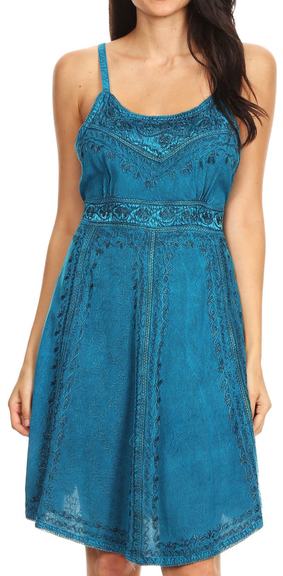Sakkas Markay Short Mid Length Spaghetti Strap Sleeveless Embroidered Batik Dress