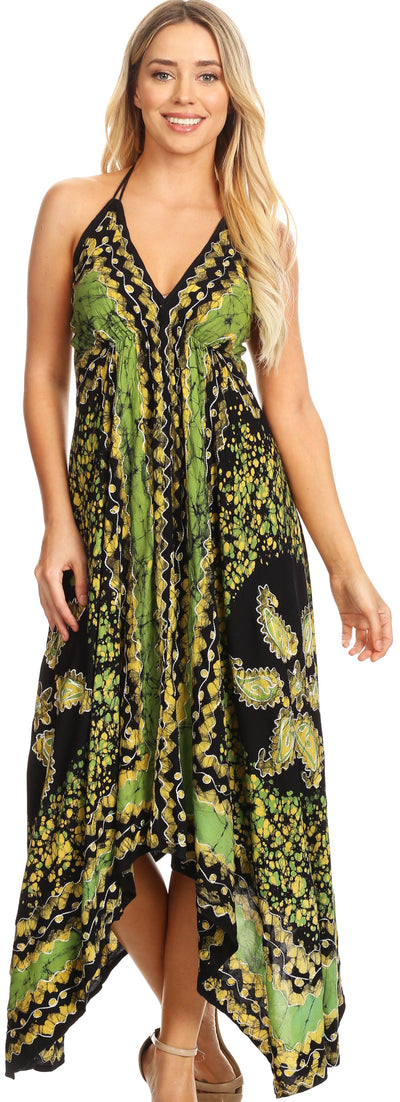 Sakkas Aleayma Strapless Long Adjustable Bead Embroidered Dyed Halter Top Dress