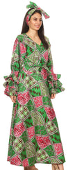 group-117-GreenFuchsia (Sakkas Tale Women's Maxi Long Sleeve Wrap Dress with Pockets African Ankara Print)