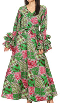 Sakkas Tale Women's Maxi Long Sleeve Wrap Dress with Pockets African Ankara Print#color_117-GreenFuchsia