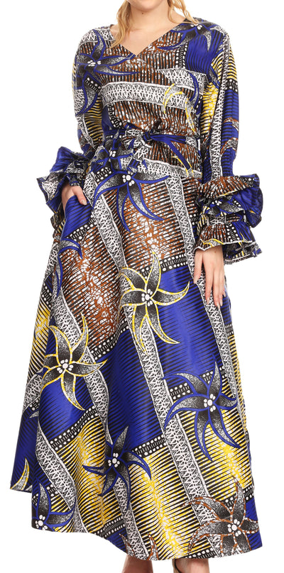 group-118-RoyalYellowMulti (Sakkas Tale Women's Maxi Long Sleeve Wrap Dress with Pockets African Ankara Print)