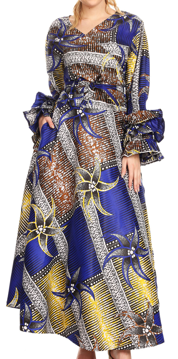 Sakkas Tale Women's Maxi Long Sleeve Wrap Dress with Pockets African Ankara Print#color_118-RoyalYellowMulti
