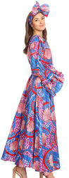 group-119-BlueRedMulti (Sakkas Tale Women's Maxi Long Sleeve Wrap Dress with Pockets African Ankara Print)