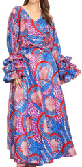 Sakkas Tale Women's Maxi Long Sleeve Wrap Dress with Pockets African Ankara Print#color_119-BlueRedMulti