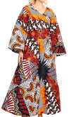 group-120-WhiteNavyRed (Sakkas Tale Women's Maxi Long Sleeve Wrap Dress with Pockets African Ankara Print)