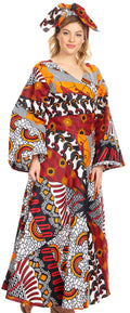 Sakkas Tale Women's Maxi Long Sleeve Wrap Dress with Pockets African Ankara Print#color_120-WhiteNavyRed