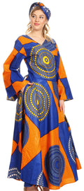Sakkas Tale Women's Maxi Long Sleeve Wrap Dress with Pockets African Ankara Print#color_21-Multi
