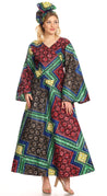 group-32-Multi (Sakkas Tale Women's Maxi Long Sleeve Wrap Dress with Pockets African Ankara Print)