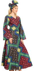 Sakkas Tale Women's Maxi Long Sleeve Wrap Dress with Pockets African Ankara Print#color_32-Multi