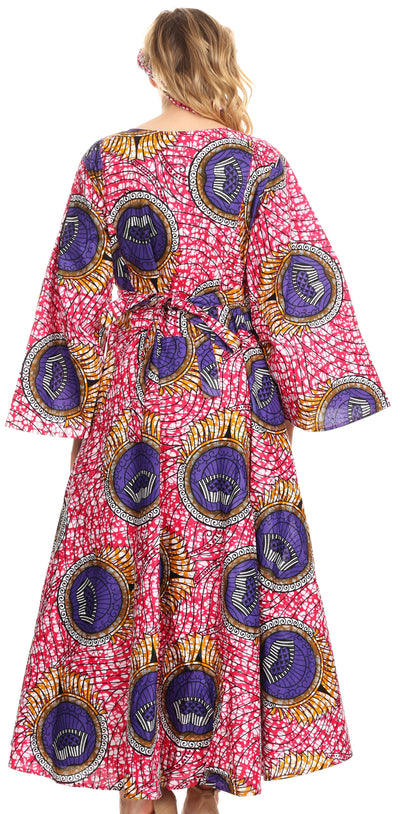 group-34-Multi (Sakkas Tale Women's Maxi Long Sleeve Wrap Dress with Pockets African Ankara Print)