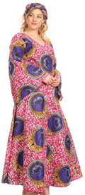 Sakkas Tale Women's Maxi Long Sleeve Wrap Dress with Pockets African Ankara Print#color_34-Multi