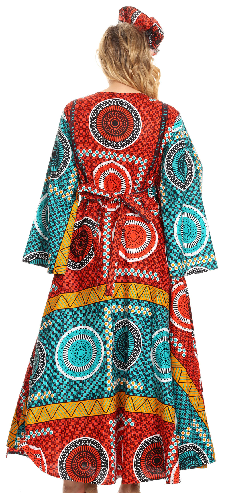Sakkas Tale Women's Maxi Long Sleeve Wrap Dress with Pockets African Ankara Print
