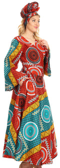 Sakkas Tale Women's Maxi Long Sleeve Wrap Dress with Pockets African Ankara Print#color_35-Multi