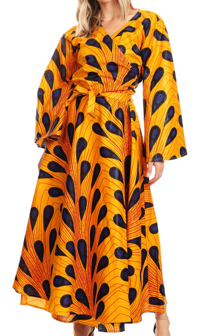 group-403-Multi (Sakkas Tale Women's Maxi Long Sleeve Wrap Dress with Pockets African Ankara Print)