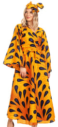 Sakkas Tale Women's Maxi Long Sleeve Wrap Dress with Pockets African Ankara Print#color_403-Multi
