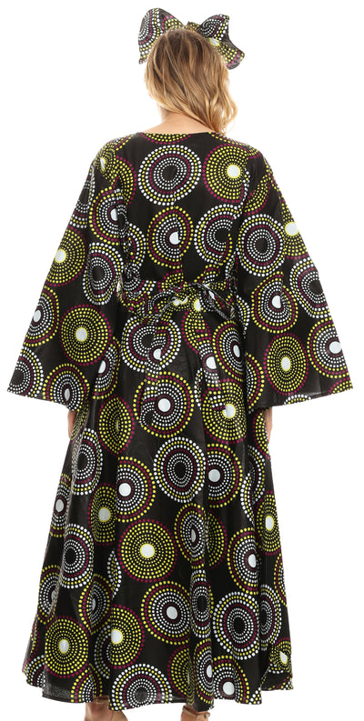 group-422-Multi (Sakkas Tale Women's Maxi Long Sleeve Wrap Dress with Pockets African Ankara Print)
