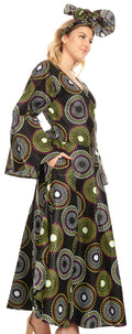 Sakkas Tale Women's Maxi Long Sleeve Wrap Dress with Pockets African Ankara Print#color_422-Multi