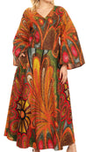 group-501-Multi (Sakkas Tale Women's Maxi Long Sleeve Wrap Dress with Pockets African Ankara Print)