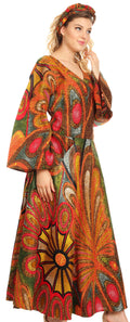 Sakkas Tale Women's Maxi Long Sleeve Wrap Dress with Pockets African Ankara Print#color_501-Multi