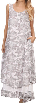 Sakkas Paak Tall Long Batik Paisely Print Ruffle Hem Lined Caftan Tank Top Dress