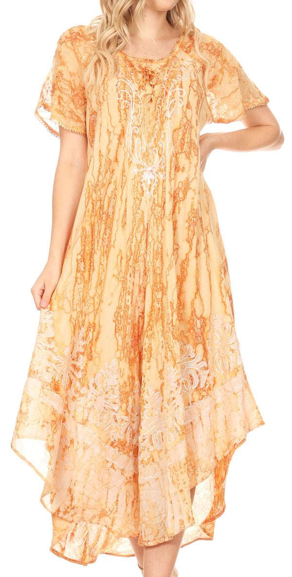 Sakkas Ronny Lace Embroidered Cap Sleeve Tie Dye Wash Caftan Dress / Cover Up#color_Beige