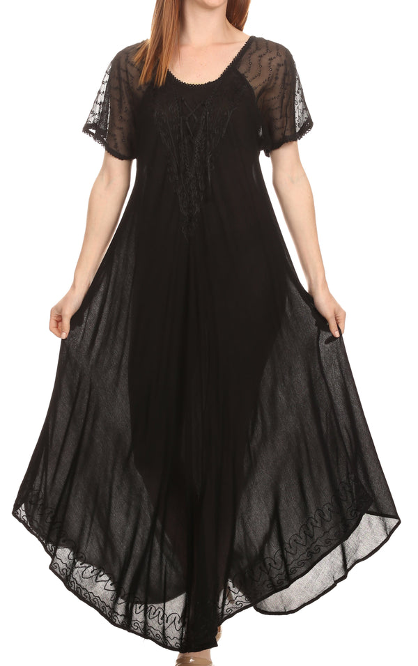 Sakkas Shasta Lace Embroidered Cap Sleeves Long Caftan Dress / Cover Up#color_Black