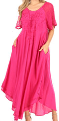 Sakkas Shasta Lace Embroidered Cap Sleeves Long Caftan Dress / Cover Up#color_fuchsia
