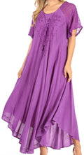 Sakkas Shasta Lace Embroidered Cap Sleeves Long Caftan Dress / Cover Up#color_Purple