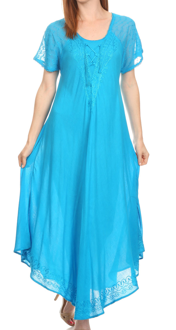 Sakkas Shasta Lace Embroidered Cap Sleeves Long Caftan Dress / Cover Up#color_Turquoise