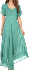 Sakkas Egan Long Embroidered Caftan Dress / Cover Up With Embroidered Cap Sleeves#color_Aqua