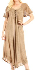 Sakkas Egan Long Embroidered Caftan Dress / Cover Up With Embroidered Cap Sleeves#color_Beige