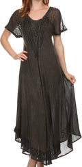 Sakkas Egan Long Embroidered Caftan Dress / Cover Up With Embroidered Cap Sleeves#color_Black