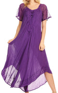 Sakkas Egan Long Embroidered Caftan Dress / Cover Up With Embroidered Cap Sleeves#color_Purple