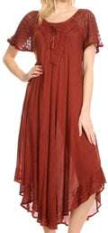 Sakkas Egan Long Embroidered Caftan Dress / Cover Up With Embroidered Cap Sleeves#color_Red