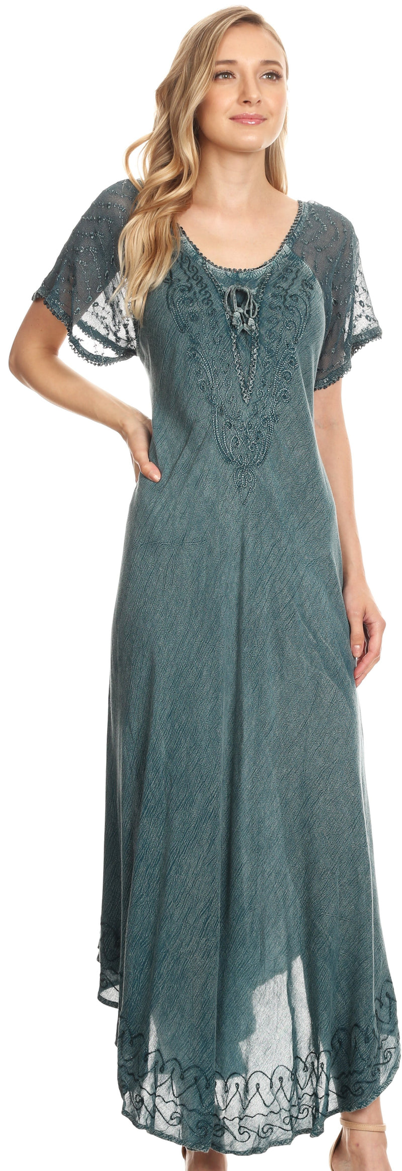 Sakkas Egan Long Embroidered Caftan Dress / Cover Up With Embroidered Cap Sleeves