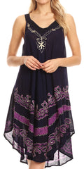 Sakkas Gasha Sleeveless Mid Length Caftan Dress With Embroidery Details And V Neck