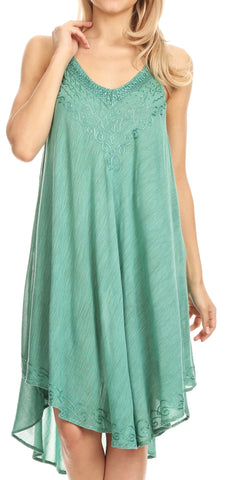 Sakkas Calais Mid Length Sleeveless Tank Top Detailed Embroidery Caftan Dress