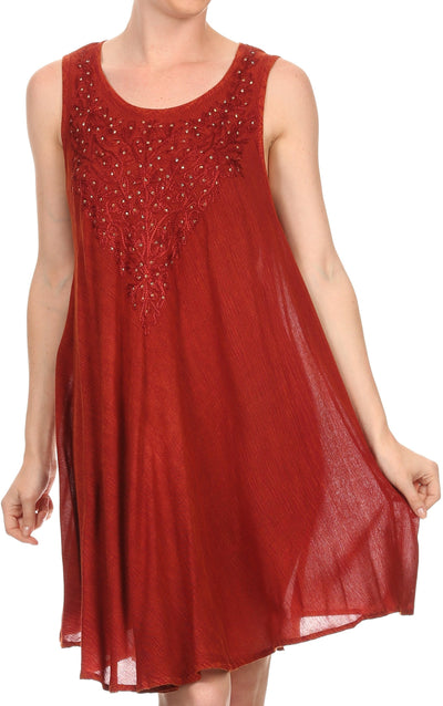 Sakkas Vilaya Short Sleeveless Embroidered Sequin Tank Top Caftan Dress / Cover Up
